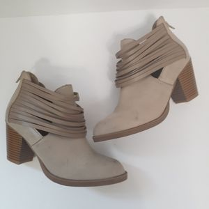 Rampage Strappy Distressed Tan Ankle Boots Booties